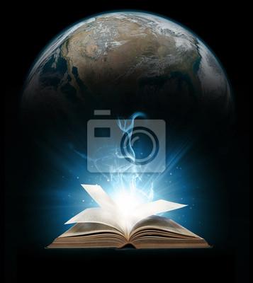 Glühende Buch mit Erde