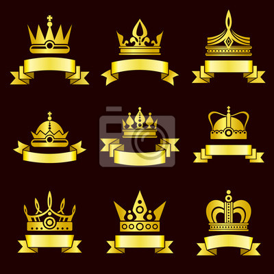 Bild Gold Kronen und Farbband Banner Vektor gesetzt. Königliche Krone mit Band, mittelalterliche Krone Luxus und Krone klassische goldene Illustration