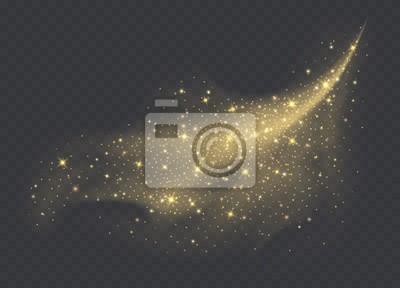 Bild Golden dust cloud with sparkles isolated on transparent background. Stardust sparkling background. Glowing glitter smoke or splash. Vector illustration.