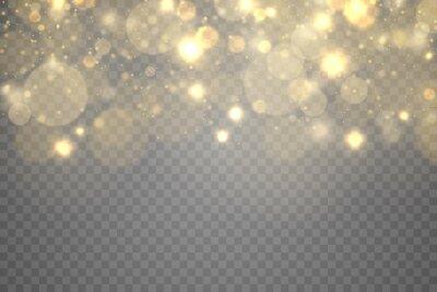 Bild Golden magic dust particles bokeh light effect.