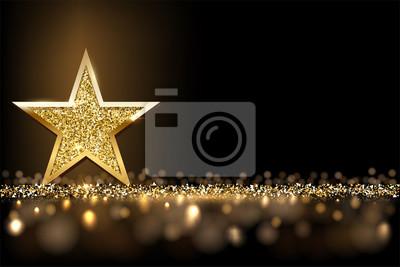 Bild Golden sparkling star isolated on dark luxury horizontal background. Vector design element.