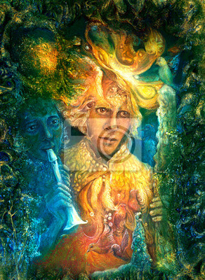 Golden sun god and blue water goddes, fantasy imagination colorf