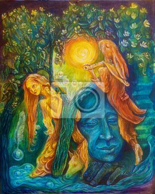 Goldene Fee und ein Zauberhase Piper unter einem Smaragd Baum