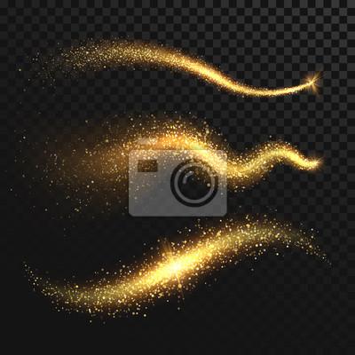 Bild Goldene glitzernde Staubschwänze. Schimmernde goldene Wellen mit funkelt Vektor-Set