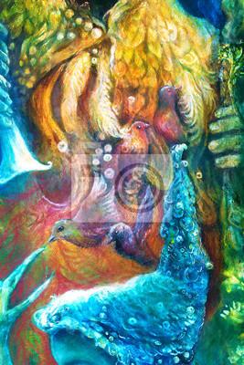 Goldene Sonnengott, blaues Wasser Göttin, Fee Kind und ein Phönix bi
