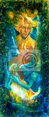 Goldene Sonnengott und blaues Wasser Göttin, Farbe Fantasie Phantasie