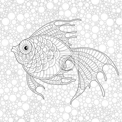Goldener fisch. erwachsene antistress färbung seite. schwarz-weiß ...