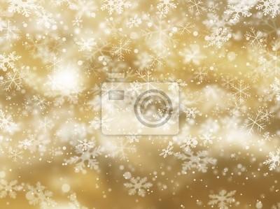 Goldener Hintergrund der fallenden Schneeflocken