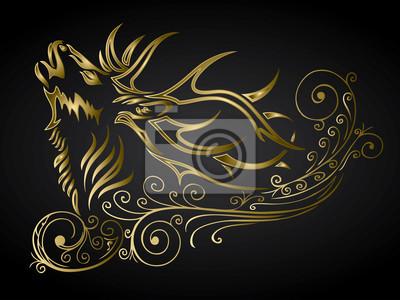 Goldener Hirsch verziert Dekoration