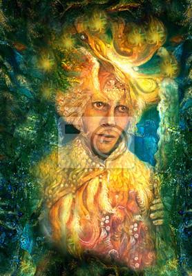 Goldener Sonne-Gott mit Verzierungen, bunte Malerei