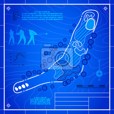 Golf course layout. Abstract design stylized blueprint technical drawing. White symbol on blue topographic background