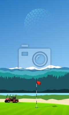 Golf-Loch mit Golfwagen auf vertikale Berg Hintergrund Landschaft