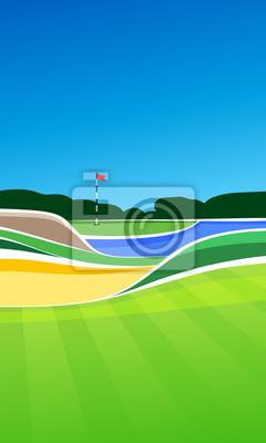 Golf Loch Vektor grüne tee Hintergrund Illustration mit Sand Bunker und Wasser Gefahr