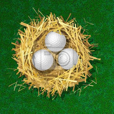 Golfbälle in einem Strohnest