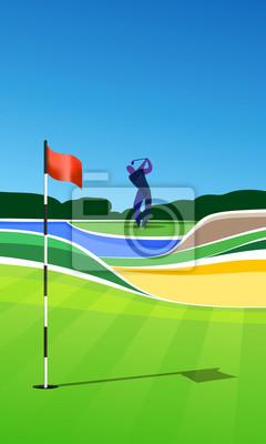 Golfer auf dem Golfplatz. Golf Loch Vektor grüne tee Hintergrund Illustration mit Sand Bunker und Wasser Gefahr