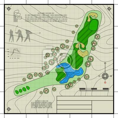 Golfplatz Layout Blaupause Zeichnung