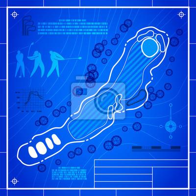 Golfplatzaufteilung. Zusammenfassung Design stilisierte Blaupause technischen Zeichnung. Weißes Symbol auf blau topographischen Hintergrund