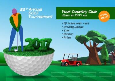 Golfspieler steht auf Golfball. Golfplatz Hintergrund. Horizontale Broschüre Vorlage Vektor-Illustration Clipart