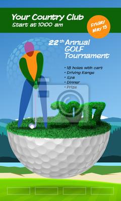 Golfspieler steht auf Golfball. Golfplatz Hintergrund. Vertikale Broschüre Vorlage Vektor-Illustration Clipart
