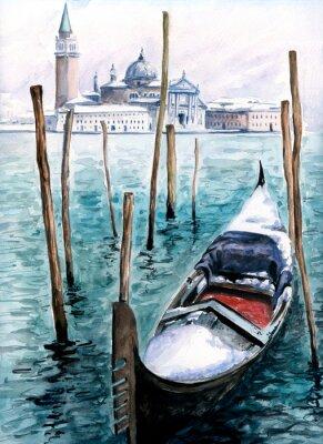 Gondola im Winter-watercolor.My eigenes Kunstwerk.