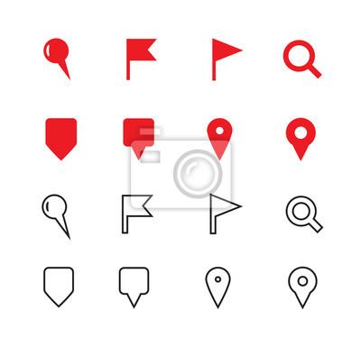 GPS und Navigation Symbole auf weißem Hintergrund.
