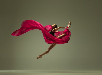 Bild Graceful ballet dancer or classic ballerina dancing isolated on grey studio background. Woman with the pink silk cloth. The dance, grace, artist, contemporary, movement, action and motion concept.