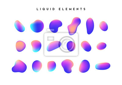 Bild Gradient iridescent shapes. Set isolated liquid elements of holographic chameleon design palette of shimmering colors. Modern abstract pattern, bright colorful paint splash fluid.