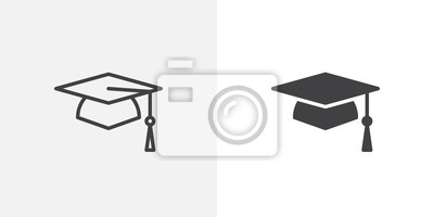 Bild Graduation cap icon. line and glyph version, student hat outline and filled vector sign. Academic cap linear and full pictogram. Education symbol, logo illustration. Different style icons set