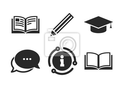 Bild Graduation cap symbol. Chat, info sign. Pencil and open book icons. Higher education learn signs. Classic style speech bubble icon. Vector