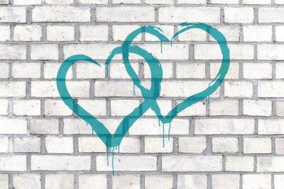 Bild Graffiti Hearts rendered on a wall background