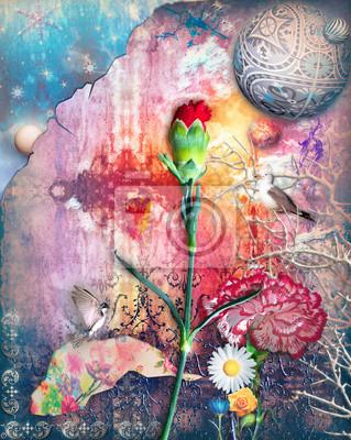 Graffiti-Hintergrund mit bunten und abstrakten Blumen