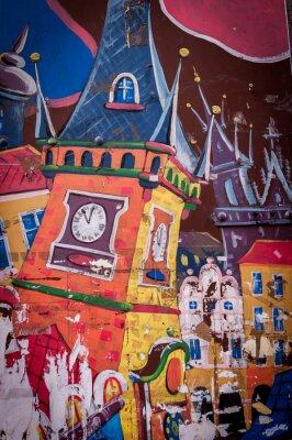 Bild Graffiti maison aux couleurs vives
