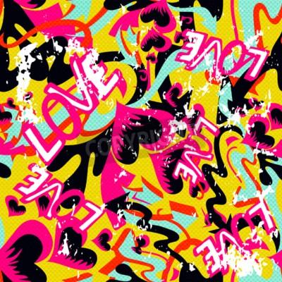 Bild Graffiti Valentinstag nahtlose Hintergrund Grunge Textur