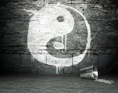 Bild Graffiti Wand mit Yin Yang, Straße Hintergrund