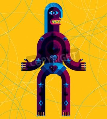 Bild Grafische Vektor-Illustration, anthropomorphen Charakter isoliert auf Kunst Hintergrund, dekorative moderne Avatar in Kubismus-Stil.