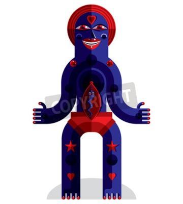 Bild Grafische Vektor-Illustration, anthropomorphen Charakter isoliert auf weiß, dekorative moderne Avatar in Kubismus-Stil.