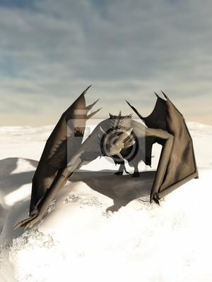 Grau Drache Herumstreichen durch den Schnee