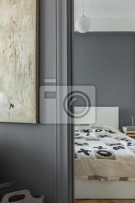 Graue wand und schlafzimmer leinwandbilder • bilder Bettdecke ...