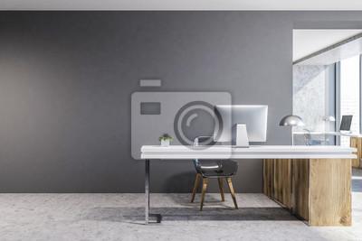 Bild Gray and wooden luxury office interior, mock up
