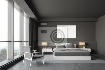 Bild Gray master bedroom interior, armchair and poster