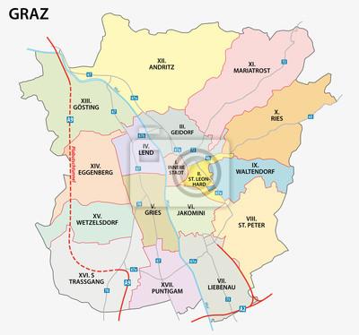 Karte Graz.Bild Graz Road And Administrative Map