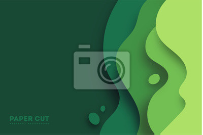Bild Green abstract paper carve background.Paper art style of nature concept design.Vector illustration. eps 10