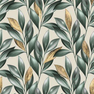 Bild Green and gold leaves seamless pattern. Summer floral background
