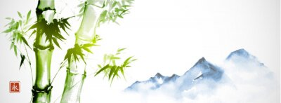 Bild Green bamboo and far blue mountains on white background.Traditional Japanese ink wash painting sumi-e. Hieroglyph - eternity.