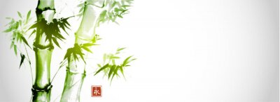 Bild Green bamboo trees on white background. Traditional Japanese ink wash painting sumi-e.  Hieroglyph- eternity
