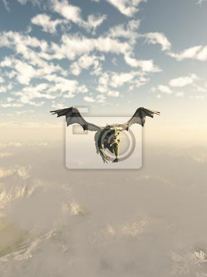 Green Dragon fliegt über die Berge