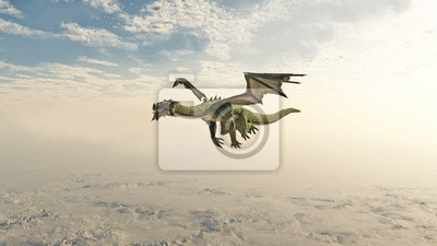 Green Dragon Flying through the Clouds
