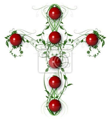 Green Floral Crosswith rote Kugel auf weißem