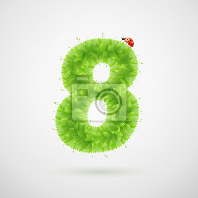 Green leaves alphabet with ladybird. Ecology summer. Number 8