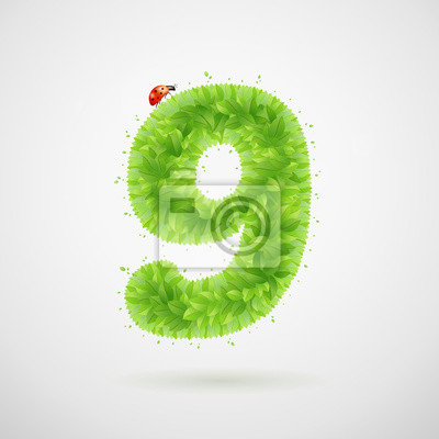 Green leaves alphabet with ladybird. Ecology summer. Number 9